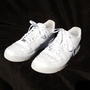 Nike Air Force Ones, all white low-top